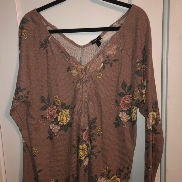 Taupe Floral WaffleKnit LaceTrim Henley LongSleeve